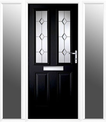 3ft composite front door with 2 narrow side panels