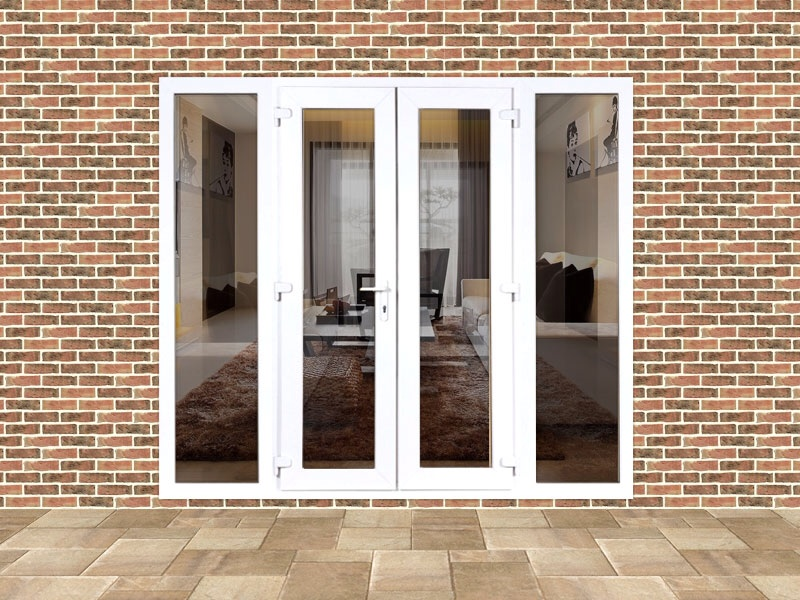 5ft upvc french door set with custom side panels flying for French windows with side panels