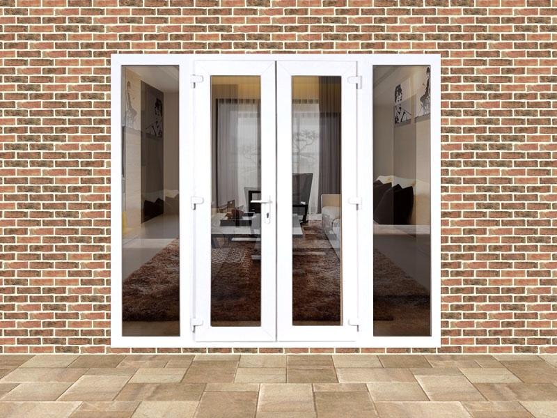 5ft upvc french door set with custom side panels flying doors. Black Bedroom Furniture Sets. Home Design Ideas