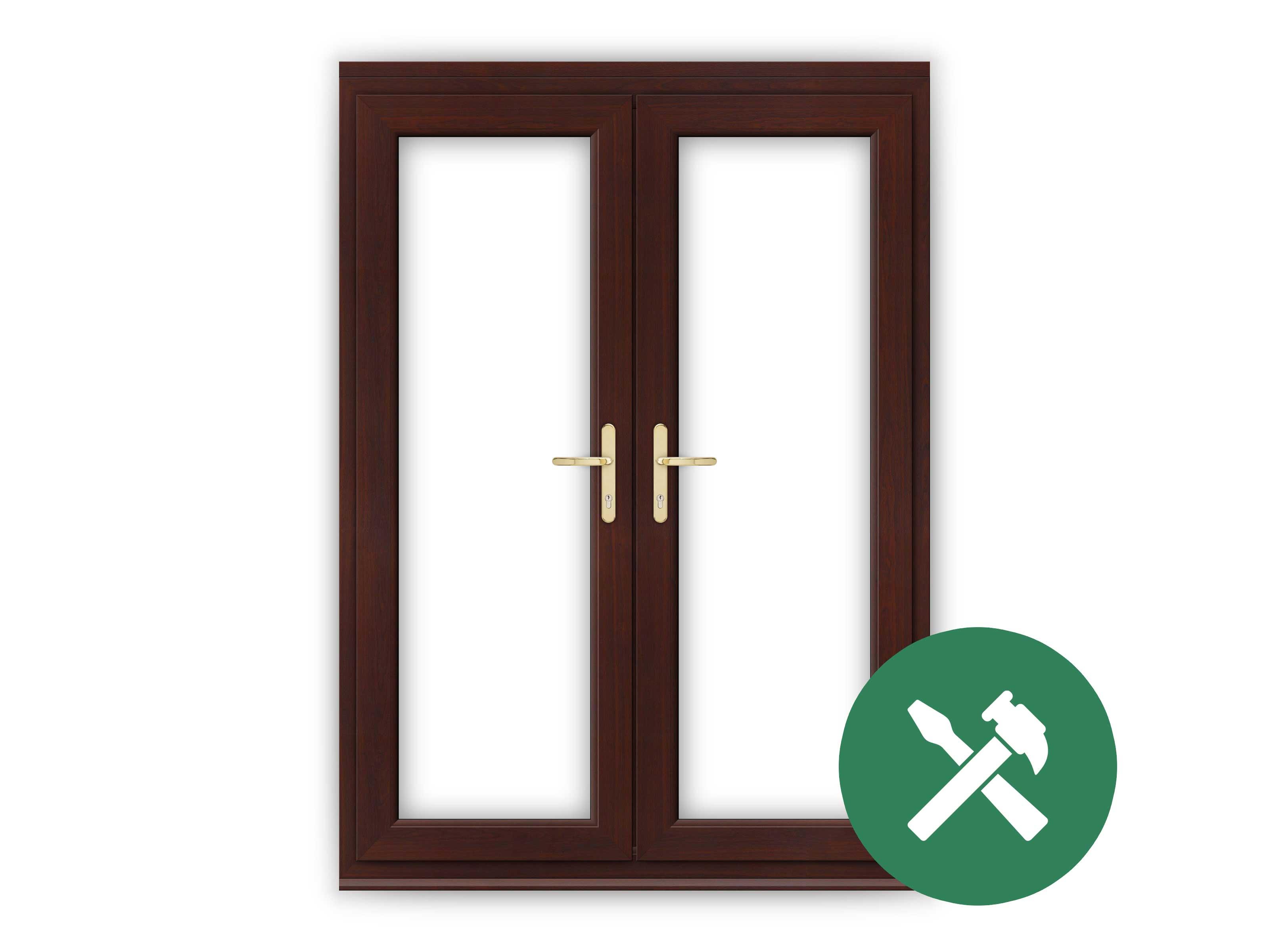 Custom rosewood upvc french door set flying doors for Made to measure upvc french doors