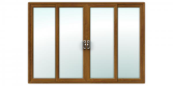 10ft Golden Oak uPVC Sliding Patio Doors