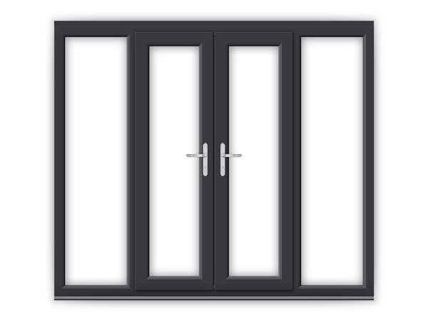 Anthracite grey upvc french doors flying doors for White upvc french doors with side panels