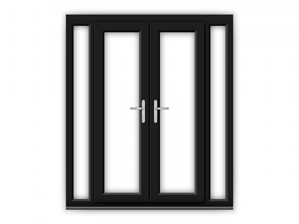 4ft Black uPVC French Doors with Narrow Side Panels