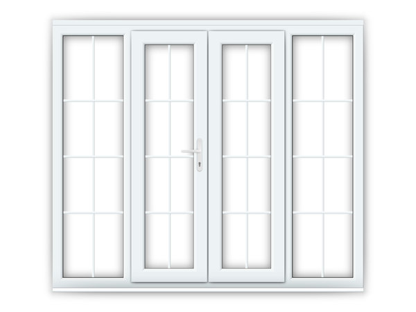 White upvc georgian french doors flying doors for Upvc french doors with side panels