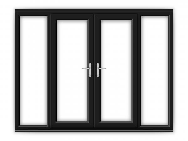 5ft Black uPVC French Doors with Wide Side Panels