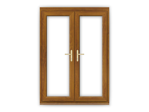 Golden oak upvc french doors flying doors for 4ft french doors exterior