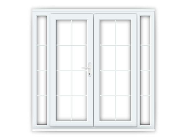 5ft uPVC Georgian French Doors with Narrow Side Panels