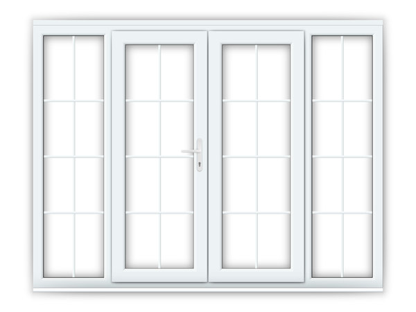 5ft uPVC Georgian French Doors with Wide Side Panels