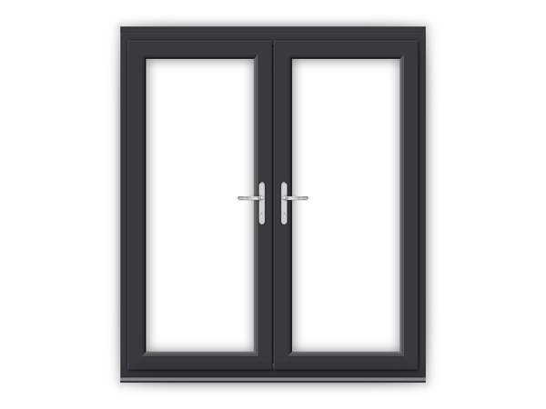 Anthracite grey upvc french doors flying doors for Upvc french doors black