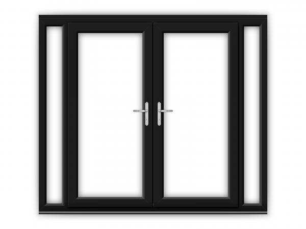 6ft Black uPVC French Doors with Narrow Side Panels