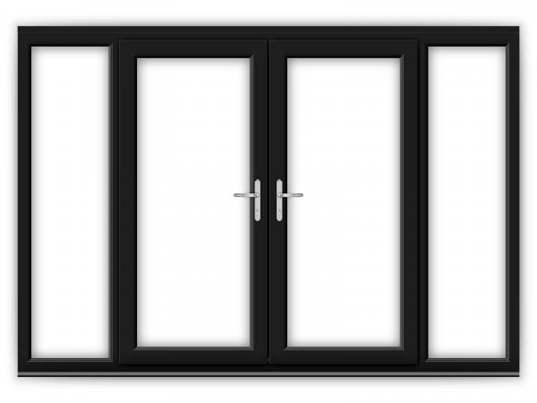 6ft Black uPVC French Doors with Wide Side Panels