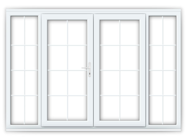 6ft uPVC Georgian French Doors with Wide Side Panels