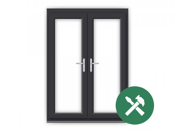 Custom Anthracite Grey uPVC French Door Set