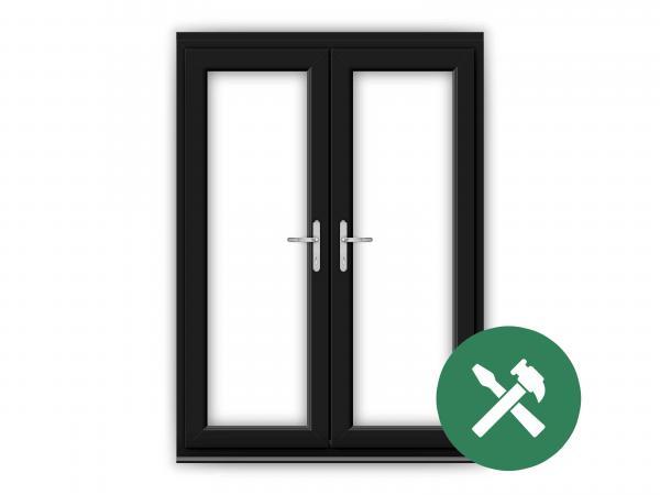 Custom Black uPVC French Door Set