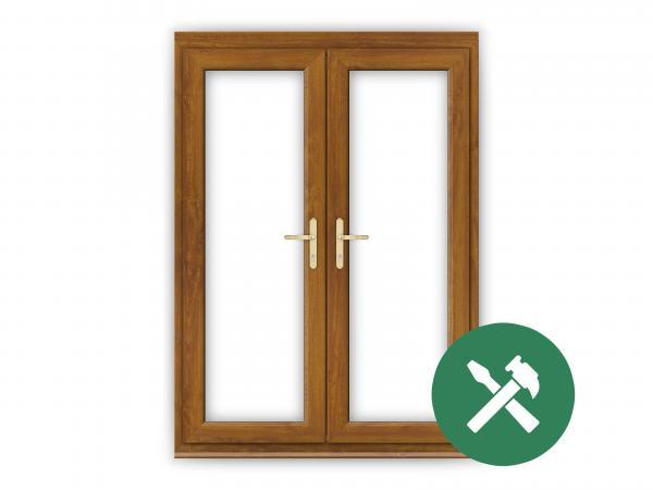 Custom Golden Oak uPVC French Door Set