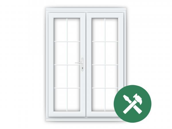 White upvc georgian french doors flying doors for Mismeasured upvc french doors