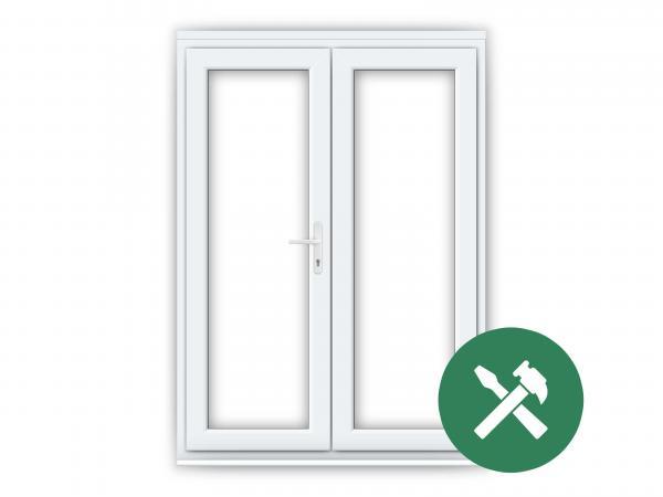 White upvc french doors flying doors for Upvc offset french doors