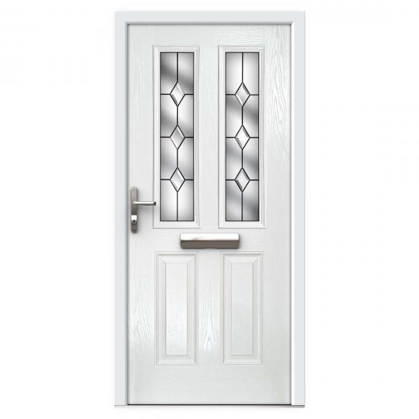 White Narrow Lite Composite Front Door