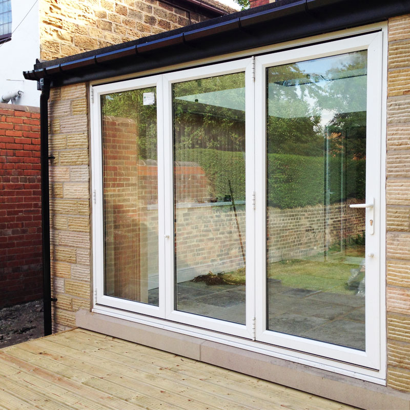 12ft white upvc bifold folding doors flying doors for Six foot sliding glass door
