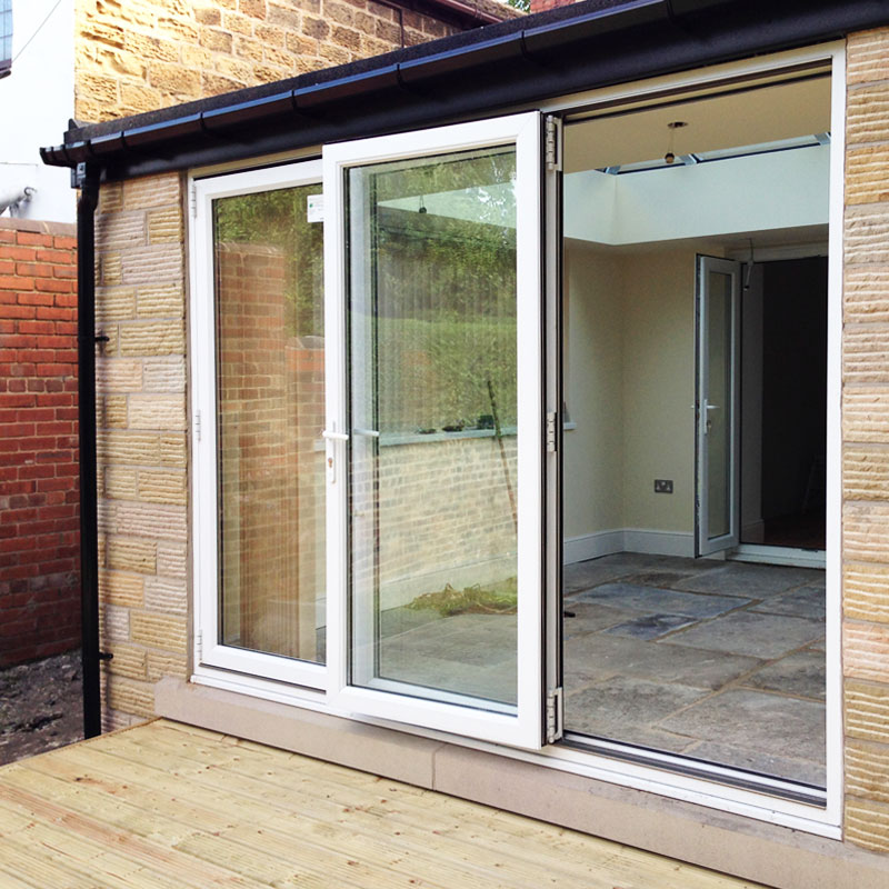 6ft white upvc bifold folding door set flying doors for Upvc front door 78 x 30