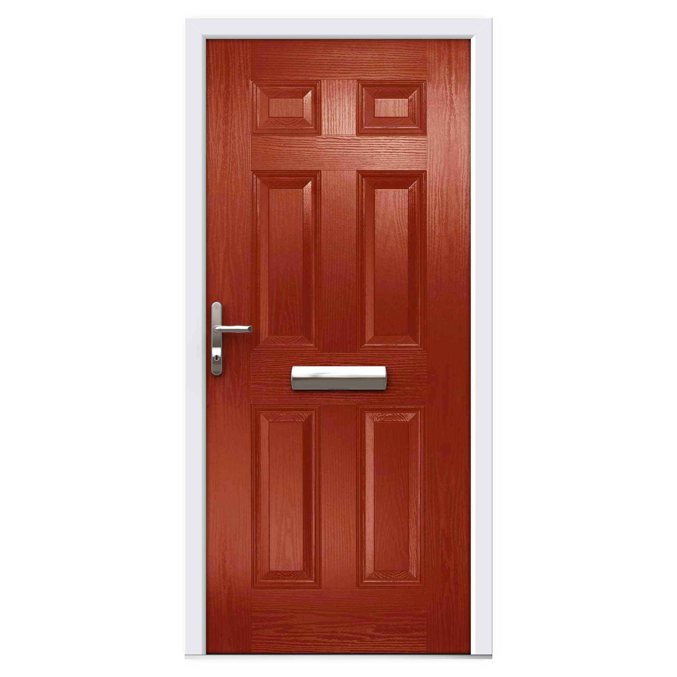 Red 6 Panel Composite Front Door Flying Doors