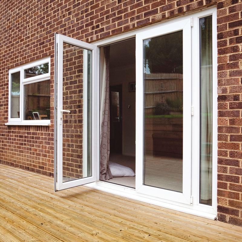 5ft upvc french doors with 2 narrow upvc side panels for Narrow sliding patio doors