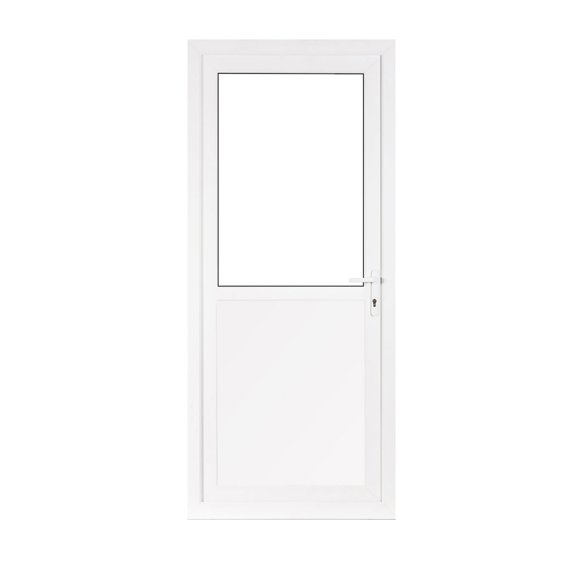 Small half glass upvc back door flying doors for Front and back doors