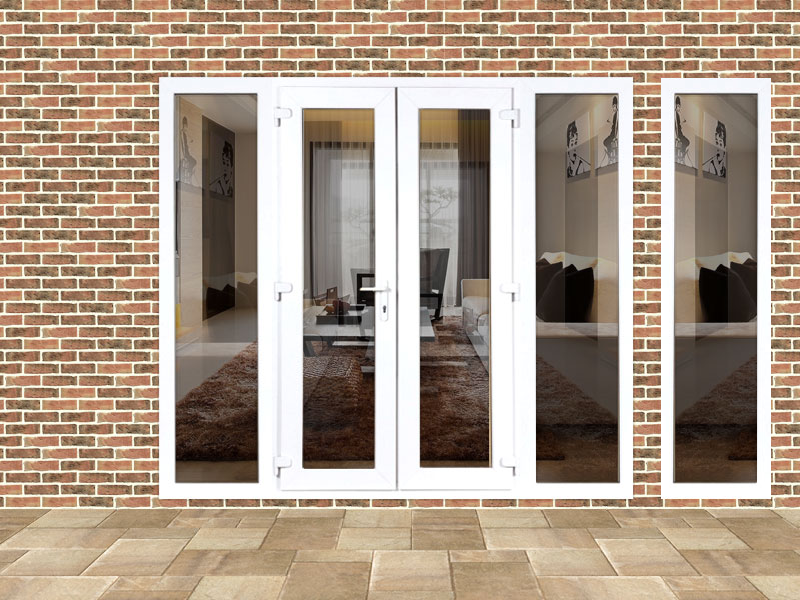 4ft upvc french doors with 3 wide side panels flying doors for Upvc french doors 4ft