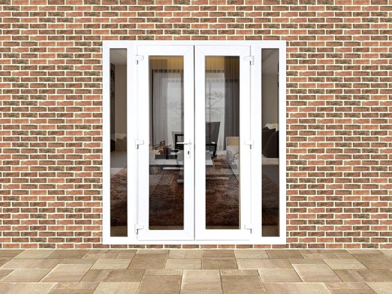 6ft upvc french doors with 2 narrow upvc side panels for Narrow interior french doors