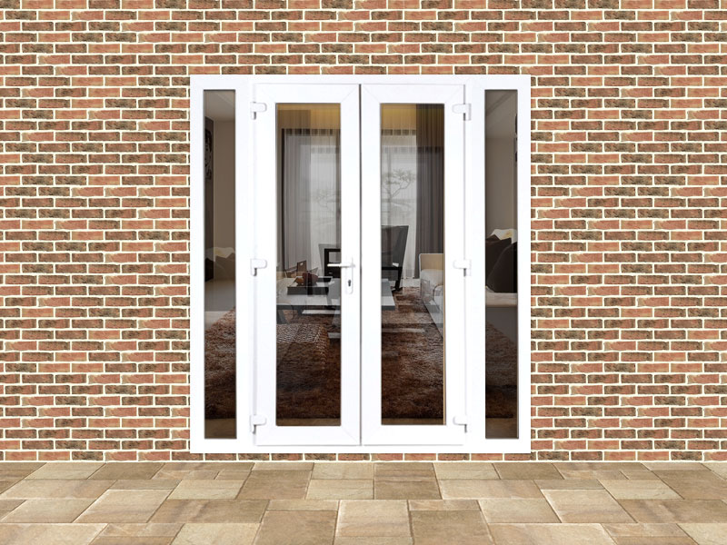4ft upvc french doors with 2 narrow upvc side panels