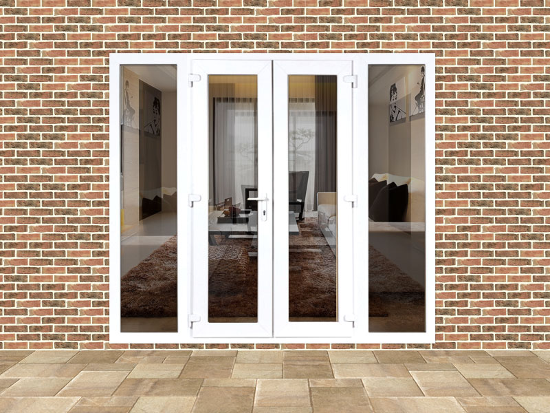 Custom upvc french door set with 2 custom side panels flying doors for French doors exterior upvc made to measure