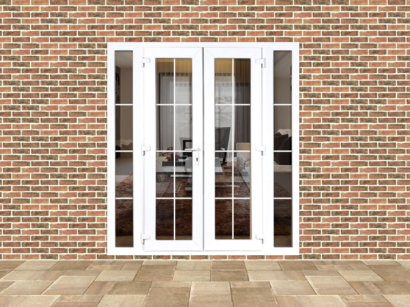 4ft upvc georgian french doors with 2 narrow upvc side for Upvc french doors 4ft