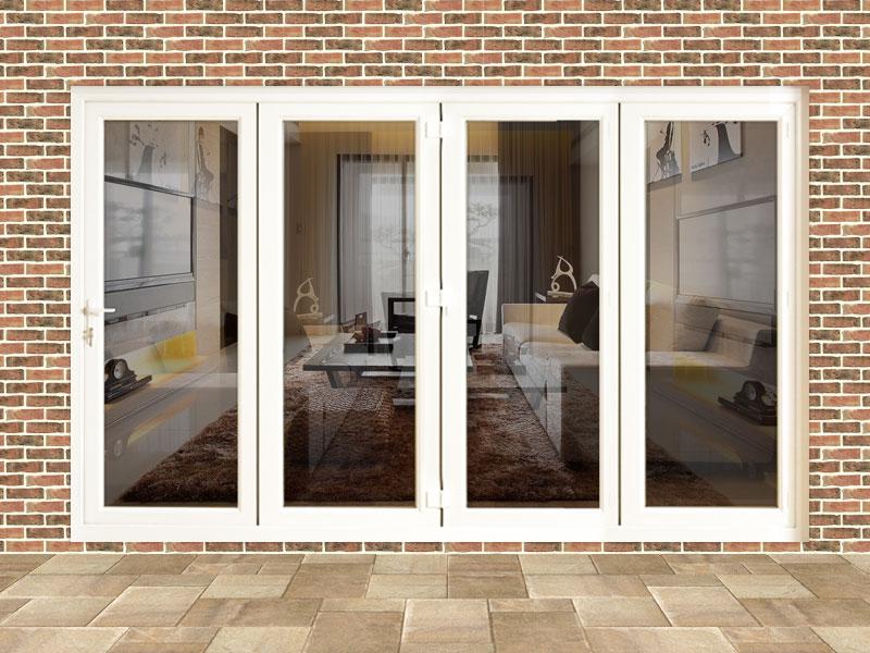 12ft white upvc bifold folding doors flying doors for Fold out patio doors